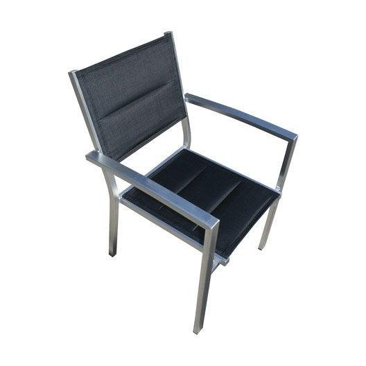 fauteuil de jardin en aluminium pacific structure argent textil ne noir leroy merlin. Black Bedroom Furniture Sets. Home Design Ideas