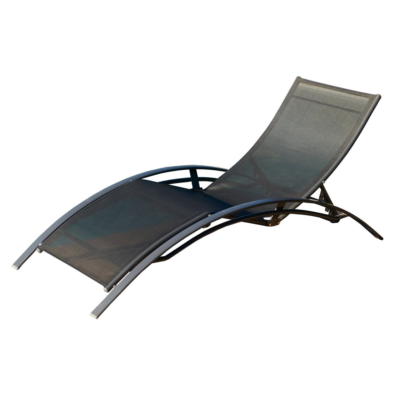 bain de soleil de jardin en aluminium noir | leroy merlin