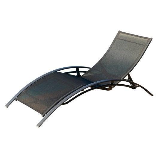 Bain de soleil de jardin en aluminium structure noir mat for Bain de soleil de jardin