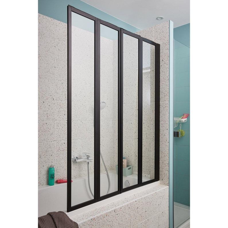 Pare-baignoire 4 volets pivotant pliant H.140 x l.110 cm Tribeca
