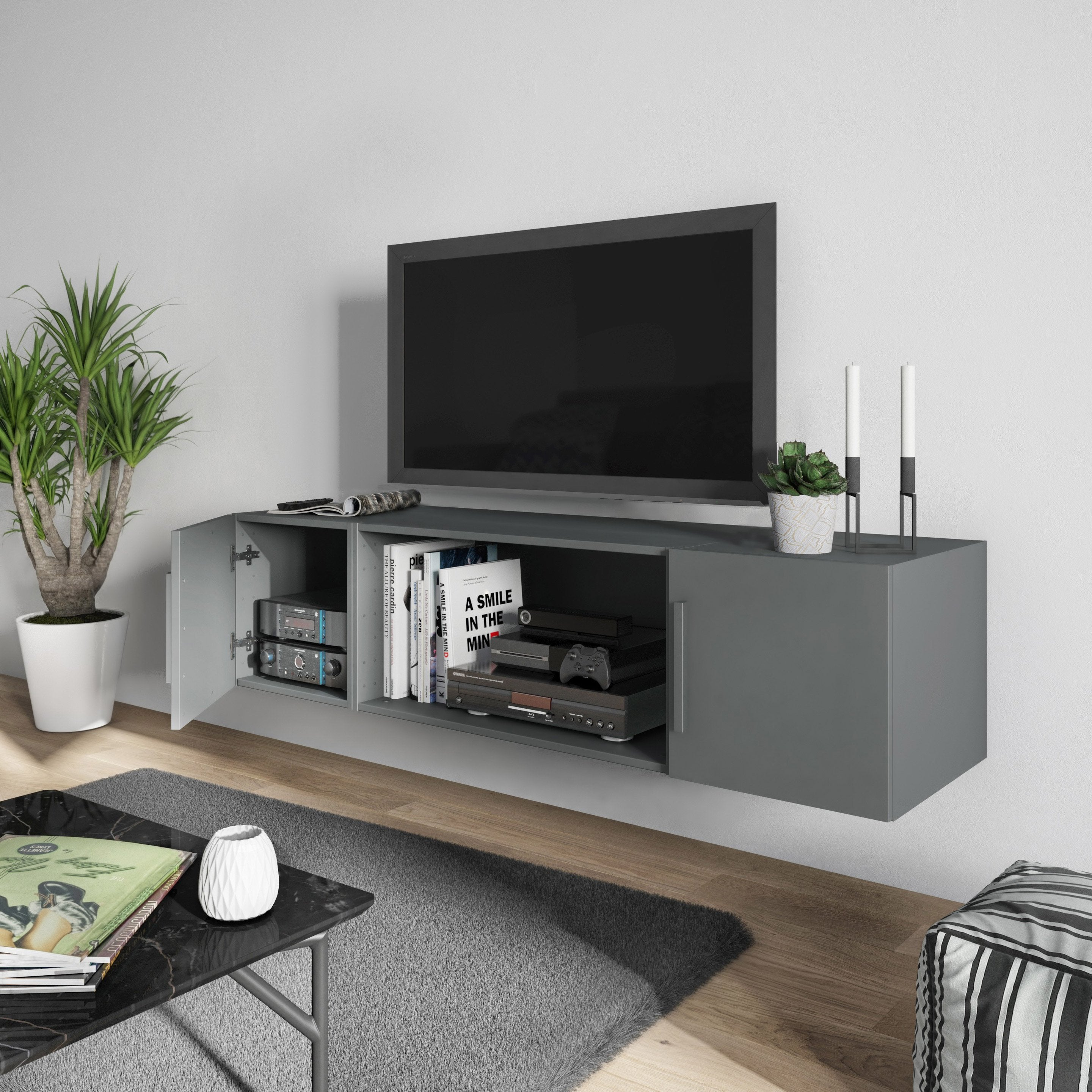 Meuble Tv À Faire Soi Meme meuble tv spaceo home, gris h.40 x l.160 x p.45 cm