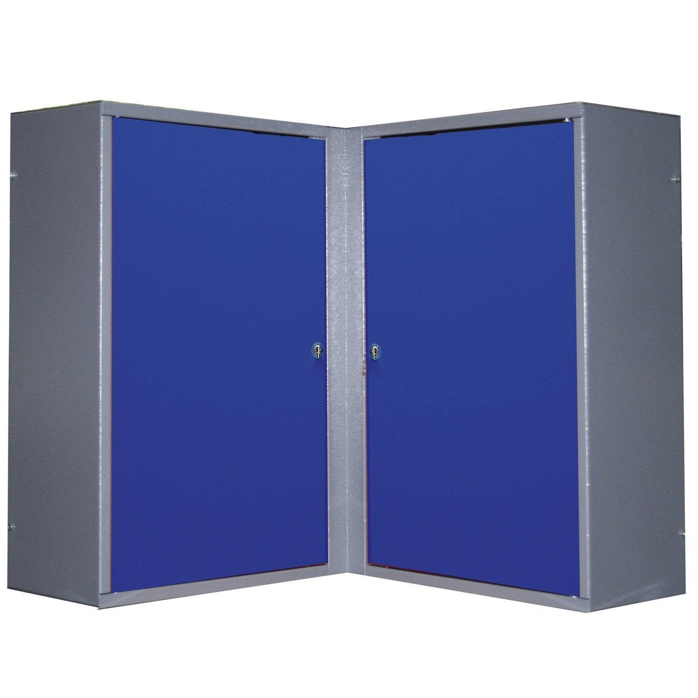 armoire de rangement pour angle en métal bleu kupper 60 cm 2 portes