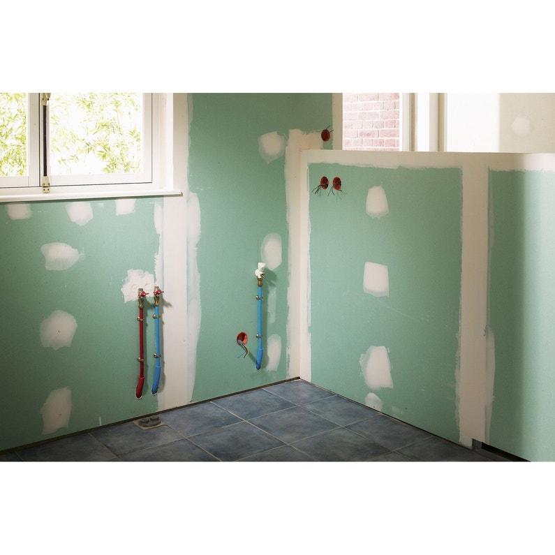 Plaque de pl tre hydro ce h2 2 5 x 1 2 m ba 13 entraxe 60 cm leroy merlin - Plaque de platre salle de bain ...