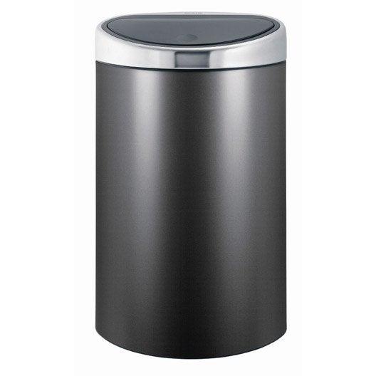 poubelle manuelle platinum brabantia 40 l leroy merlin. Black Bedroom Furniture Sets. Home Design Ideas