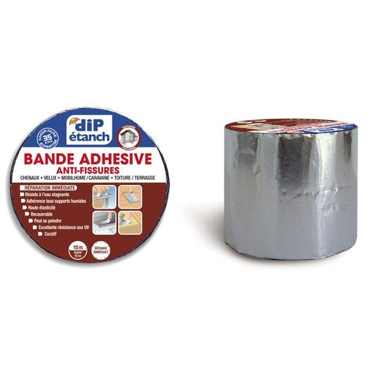 bande d 39 tanch it adh sive anti fissures dip aluminium 10 m x 10 cm leroy merlin. Black Bedroom Furniture Sets. Home Design Ideas