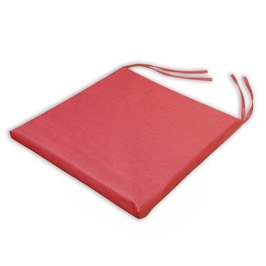 Galette de chaise imperm able basica rouge x h 2 5 cm leroy merlin - Galette chaise exterieur impermeable ...