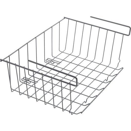 panier suspendre gris x x cm leroy merlin. Black Bedroom Furniture Sets. Home Design Ideas