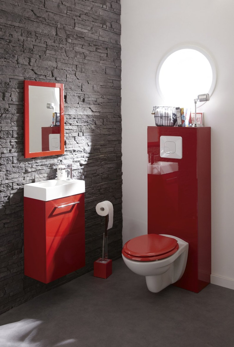 Le rouge dynamise les toilettes leroy merlin for Wc bidet leroy merlin