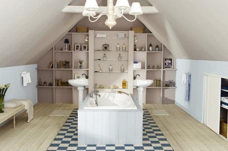 Osez La Salle De Bains Sous Les Toits Leroy Merlin - Amenagement salle de bain combles