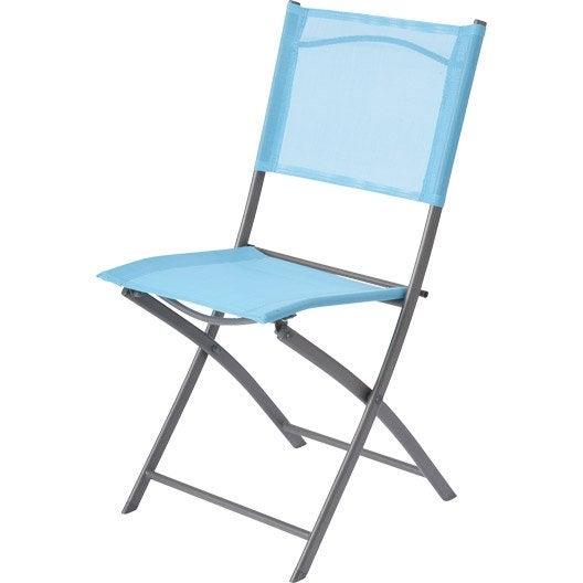 Chaise de jardin en acier denver bleu leroy merlin for Chaise de jardin bleu marine