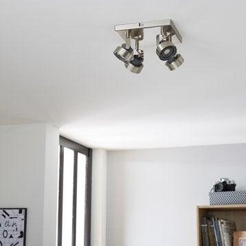 Plafonnier 4 spots LED intégrée led, 4, acier Poros INSPIRE