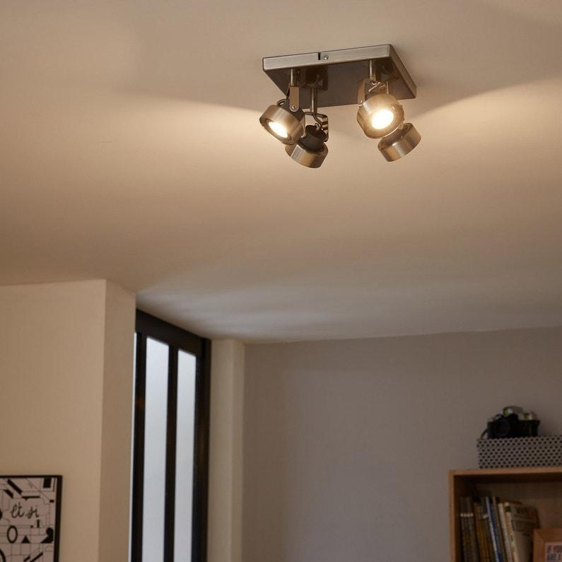 plafonnier 4 spots design poros 4 xled int gr e acier inspire leroy merlin. Black Bedroom Furniture Sets. Home Design Ideas