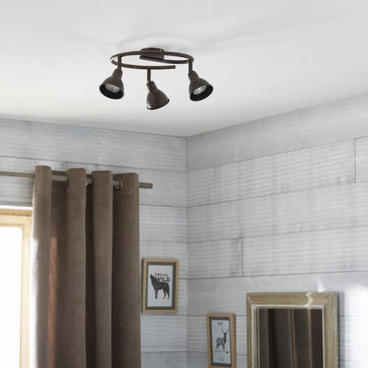plafonnier 3 spots industriel rusto 3 xgu10 marron inspire leroy merlin. Black Bedroom Furniture Sets. Home Design Ideas