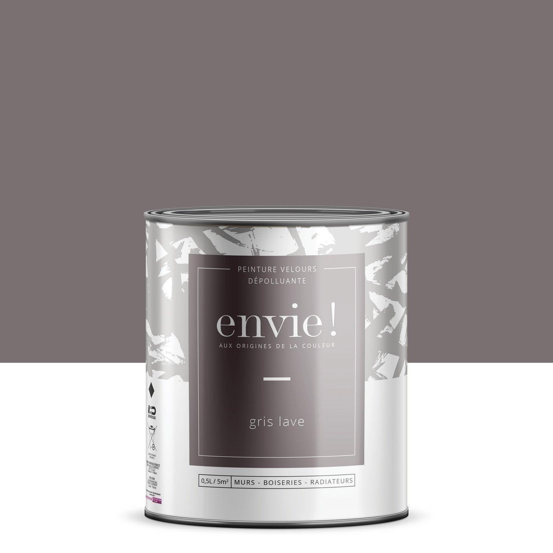 Peinture dépolluante mur, boiserie, radiateur ENVIE gris lave velours 0.5 l