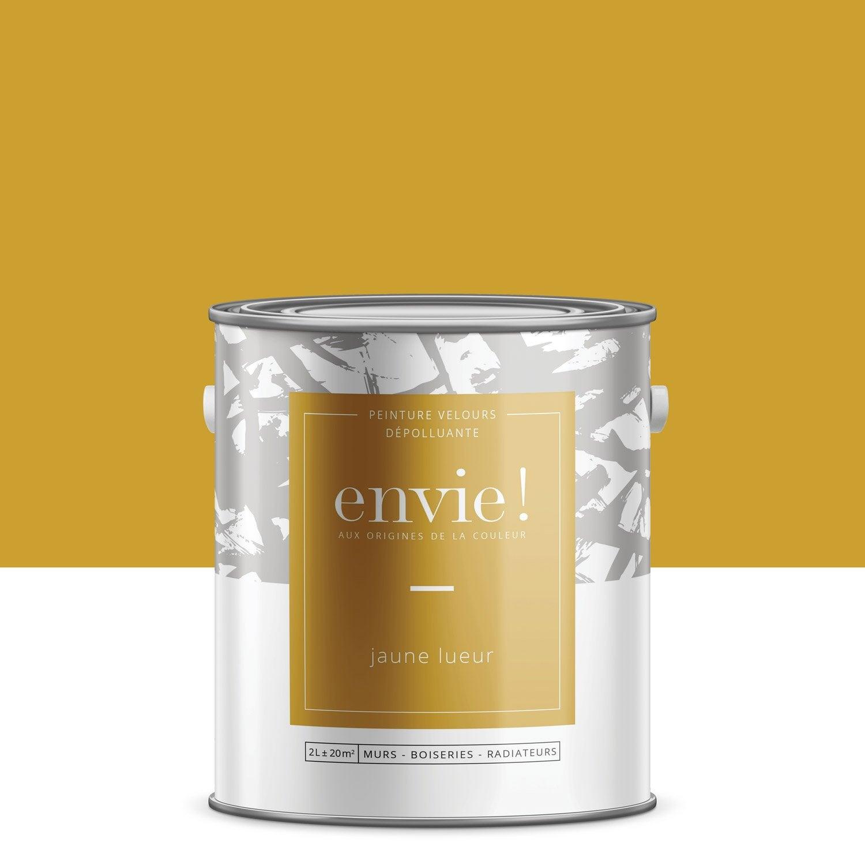 Peinture mur, boiserie, radiateur Multisupports ENVIE, jaune lueur, 2 l, velours