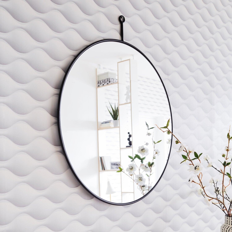 un miroir rond avec une corde pour le suspendre leroy merlin. Black Bedroom Furniture Sets. Home Design Ideas