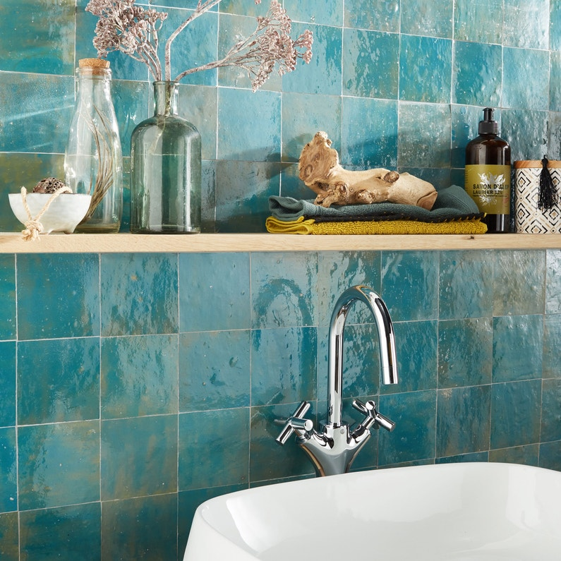 Zellige mur uni bleu lazulli brillante l.10 x L.10 cm, Zellige ...