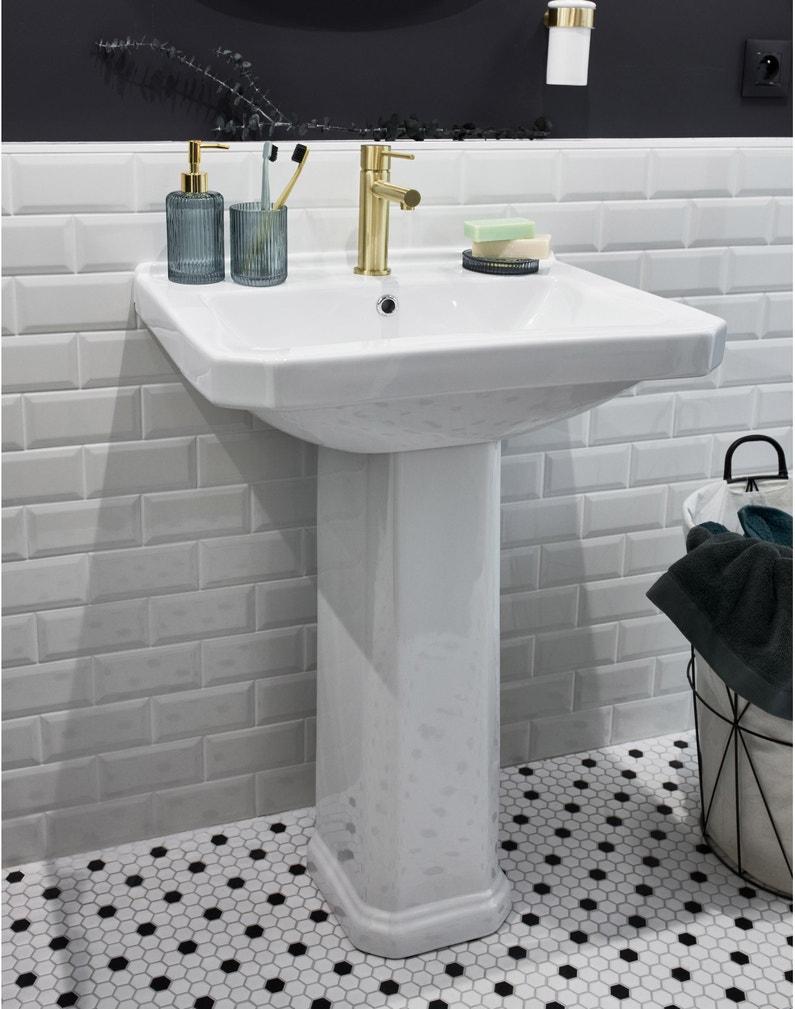 Lavabo Personne Mobilité Réduite lavabo colonne en céramique, blanc, sensea charm