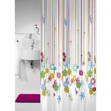 Rideau de douche en tissu sensea multicolore 180 x 200 cm - Accessoires de douche leroy merlin ...