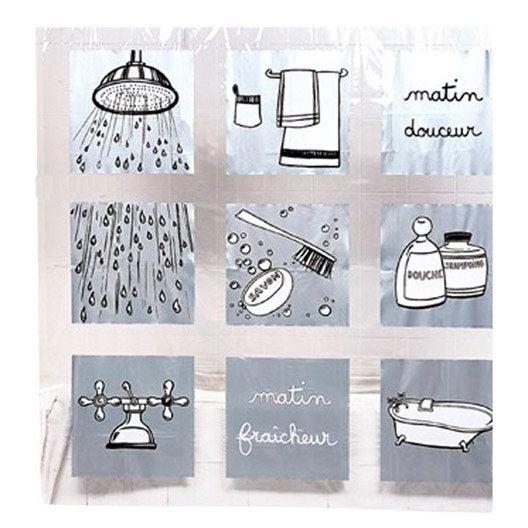 rideau de douche en plastique gris x cm matin fraicheur sensea leroy merlin. Black Bedroom Furniture Sets. Home Design Ideas