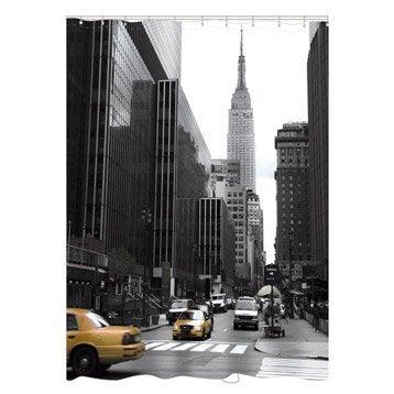Rideau de douche en tissu new york sensea noir 180x200 cm - Accessoires de douche leroy merlin ...