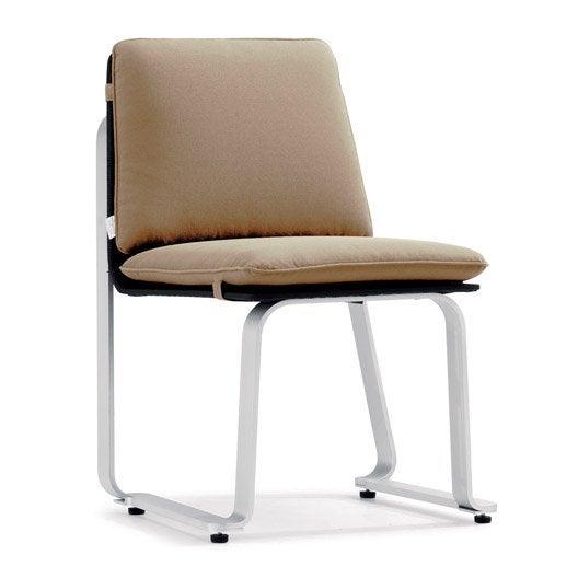 Chaise de jardin Azur structure argent / textilène noir et coussin taupe