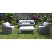 Salon de jardin Vintage résine (plastique) 1 canapé 3 places + 2 fauteuils