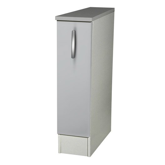 Meuble de cuisine bas 1 porte gris aluminium h86x l15x for Porte de meuble cuisine