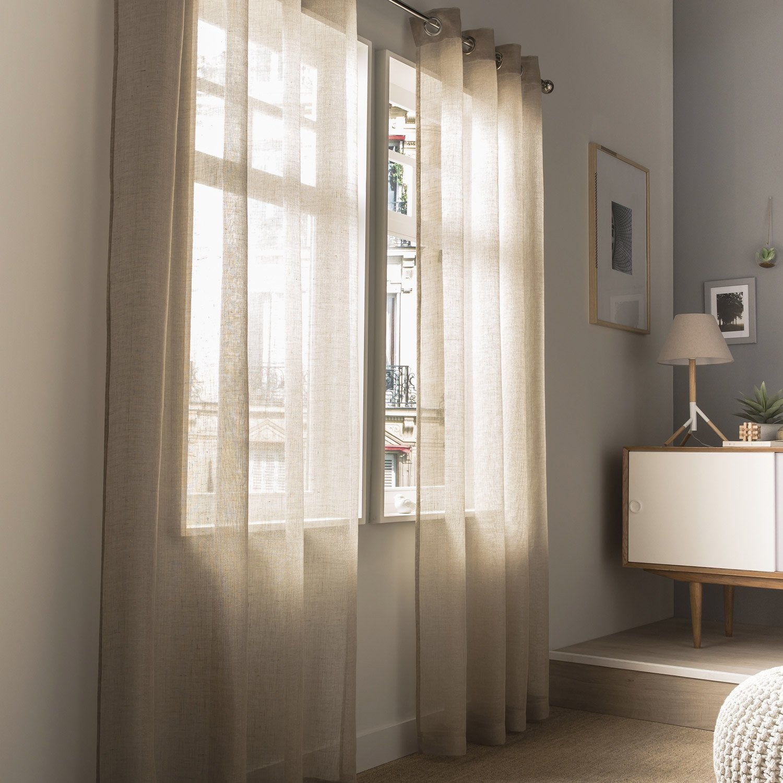 Voilage tamisant, Shiny, lin, l.140 x H.240 cm INSPIRE | Leroy Merlin