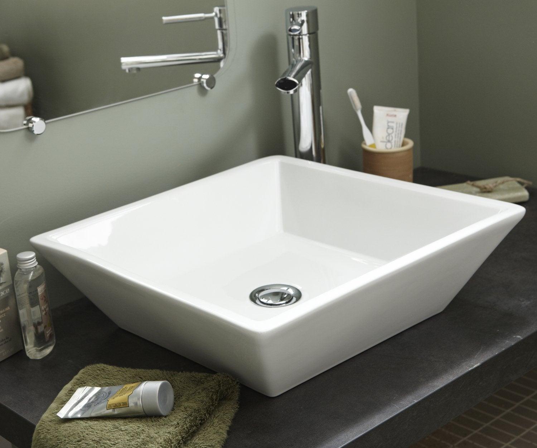 vasque a poser salle de bain Une vasque à poser en céramique aux lignes géométriques