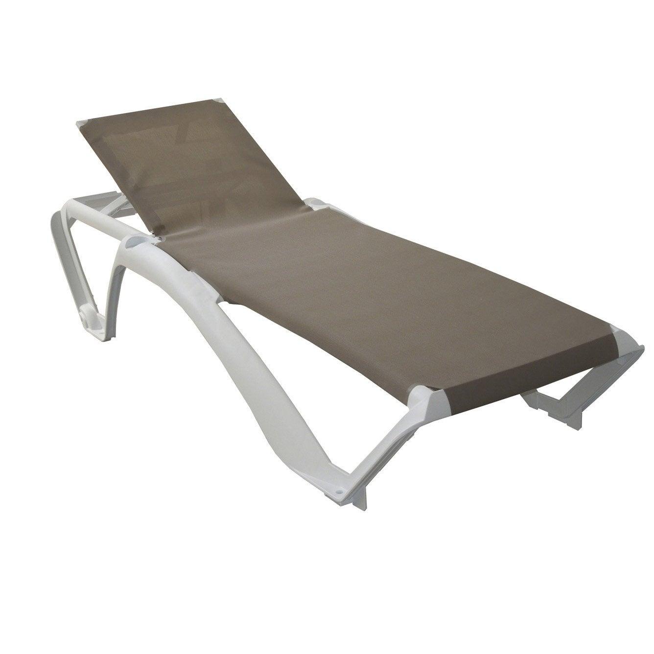 Bain de soleil de jardin en r sine inject e acqua sable for Chaise longue de jardin pvc