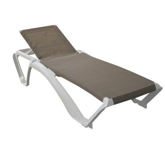 Bain de soleil de jardin en r sine plastique acqua sable for Chaise piscine pas cher