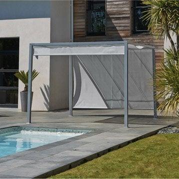 Pergola autoportante venezia, acier et aluminium gris, 9 m²