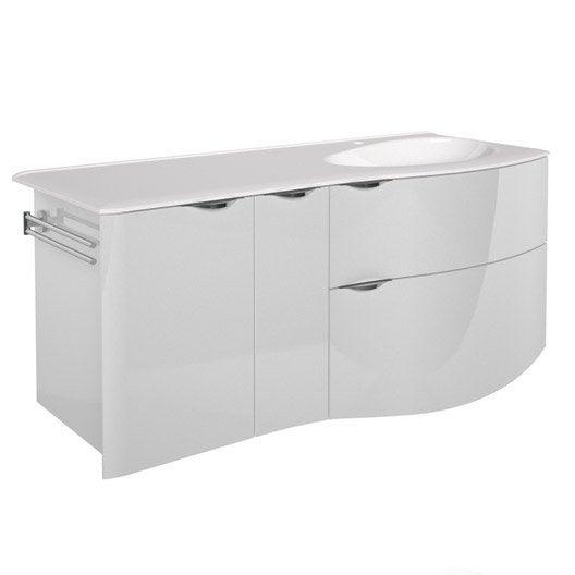 Meuble de salle de bains plus de 120 blanc beige for Meuble sous vasque 100 cm
