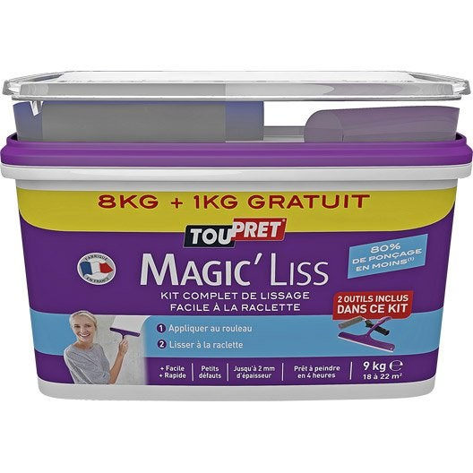 Enduit de lissage p te magic liss toupret 8 kg leroy merlin - Enduit de lissage au rouleau ...