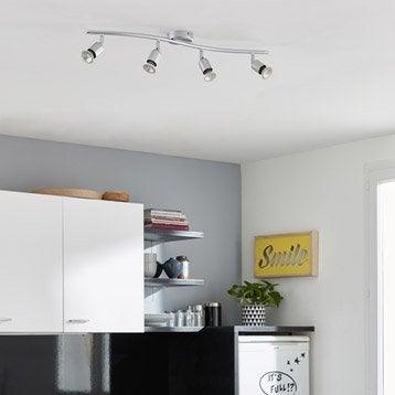 Rampe 4 spots sans ampoule, 4 x GU10, gris Basic INSPIRE