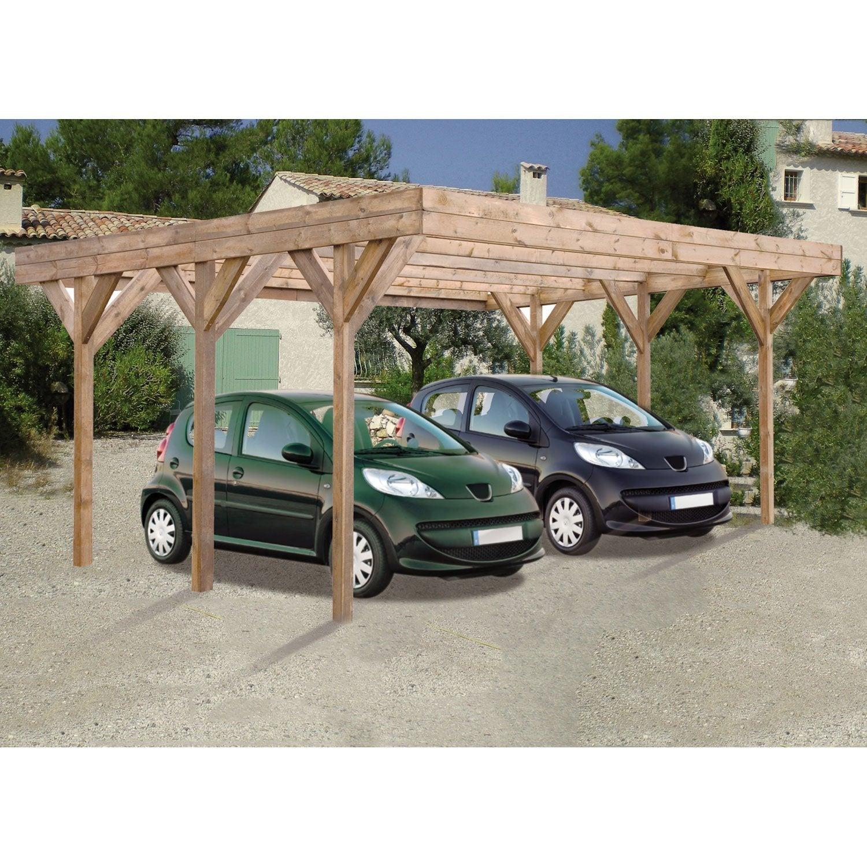 carport bois enzo 2 voitures m leroy merlin. Black Bedroom Furniture Sets. Home Design Ideas