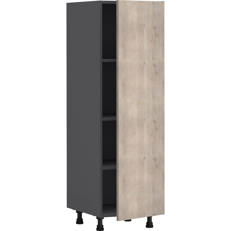 Demi-colonne de cuisine Nordik effet frêne, 1 porte H.138 l.45 cm x p.58 cm