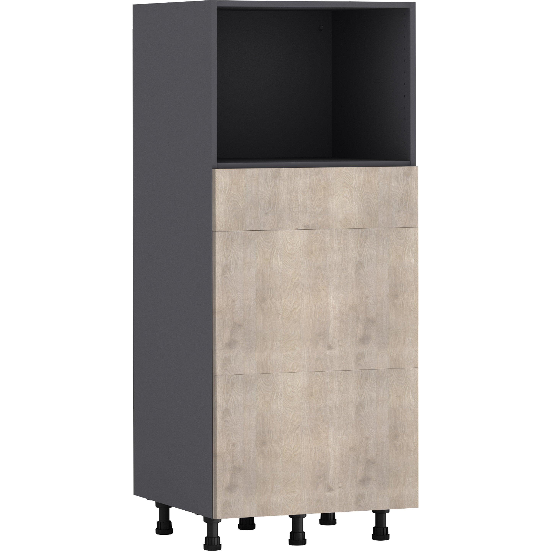 Demi-colonne de cuisine Nordik effet frêne, 2 tiroirs H.138 l.60 cm x p.58 cm