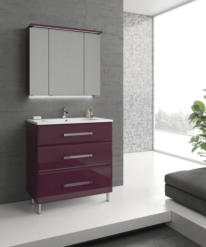 Meuble Simple Vasque L 80 X H 84 X P 45 2 Cm Aubergine Opale