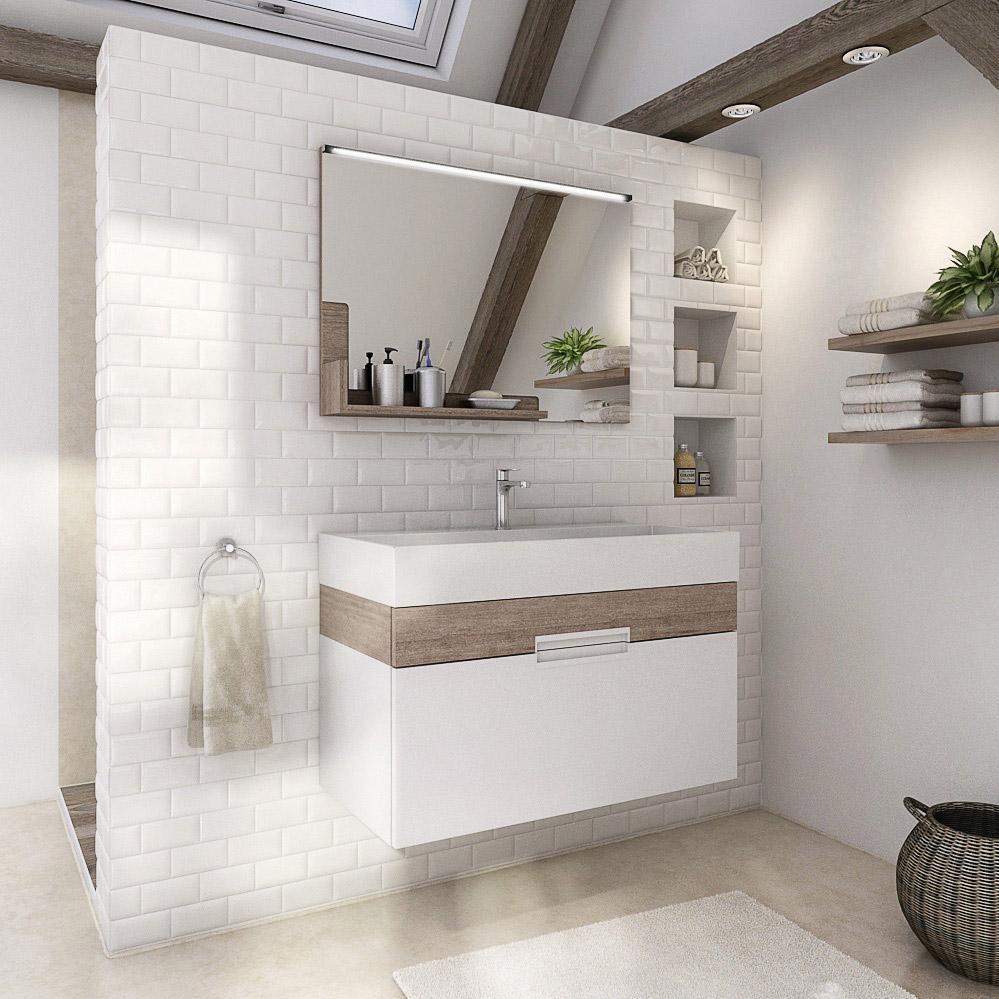 Meuble simple vasque l.18 x H.18 x P.18 cm, effet chêne flanelle, Eden