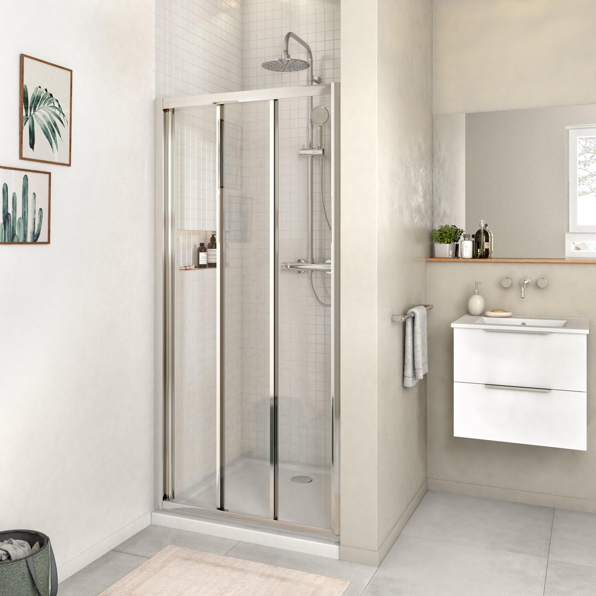 Porte de douche coulissante transparente chrom 90 cm Porte pliante 90 cm transparente