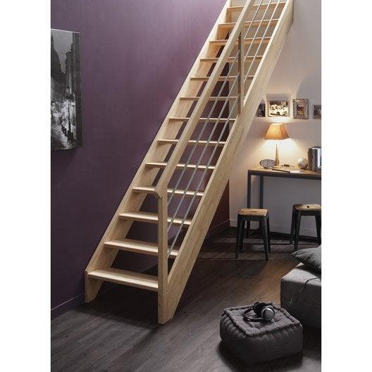 Escalier droit urban tube structure bois marche bois - Marche escalier leroy merlin ...
