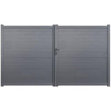 Portail bois alu fer portail portillon et for Portail pvc anthracite