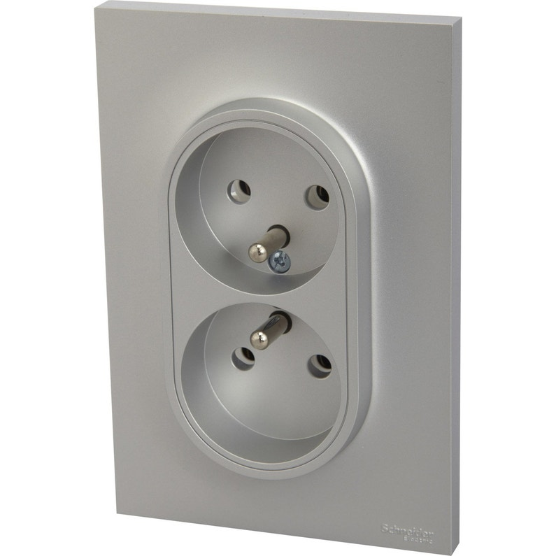 Double Prise Avec Terre Odace Schneider Electric Gris Aluminium