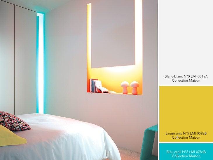Chambre jaune bleu design de maison for Conseils peinture chambre