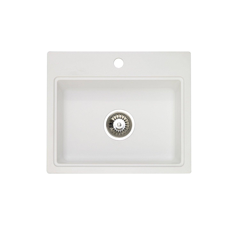 evier encastrer granit et r sine blanc aquarius 1 cuve. Black Bedroom Furniture Sets. Home Design Ideas
