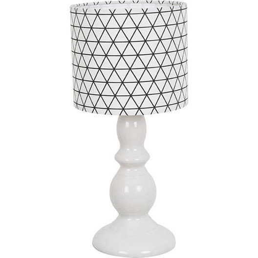 lampe e14 prisme corep coton sur pvc blanc et noir 40 w. Black Bedroom Furniture Sets. Home Design Ideas
