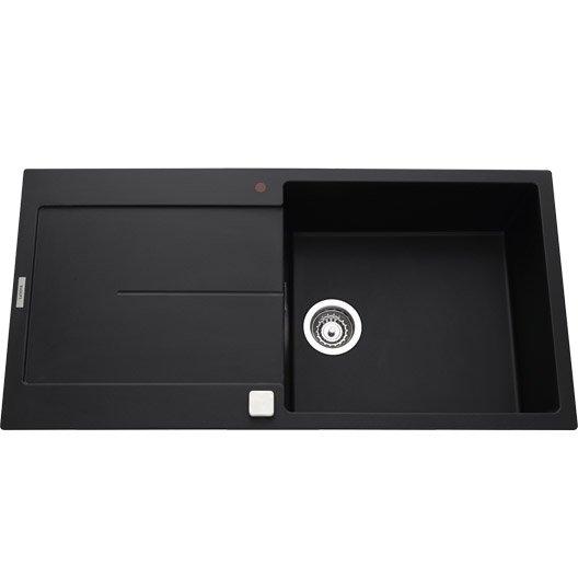 evier encastrer granit et r sine noir gia 1 grand bac. Black Bedroom Furniture Sets. Home Design Ideas