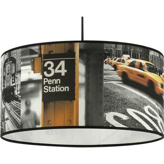 suspension city new york penn station coton multicolore 1 x 60 w metropolight leroy merlin. Black Bedroom Furniture Sets. Home Design Ideas